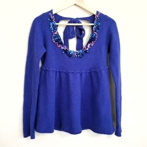 Free People Royal Blue Sequin Neckline Sweater